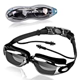 Swim Goggles FOCHEA Swimming Goggles No Leaking Anti Fog UV Protection Triathlon Swim Goggles with Ear Plugs&Free Protection Case for Adult (Black)