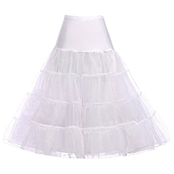 GRACE KARIN Women s Plus Size Petticoat 30 inch Crinoline Below Knee Length Underskirt Slips for Christmas Party  White,XL