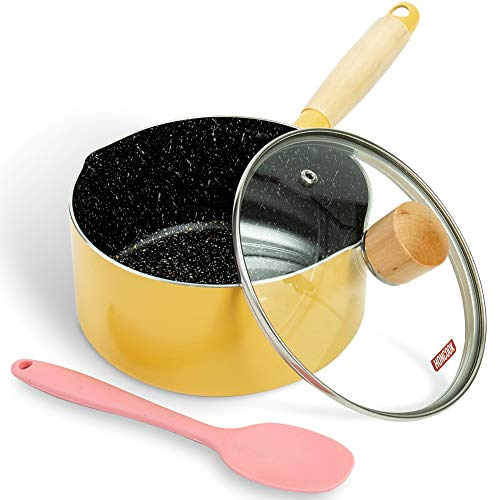 Saucepan ROCKURWOK Nonstick Sauce Pan Small Pot with Lid Solid Wood Handle 17 Quart Yellow