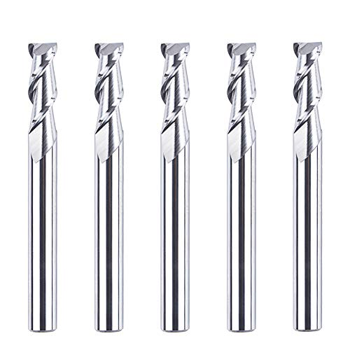SpeTool 5Pcs Carbide CNC End Mills for Aluminum Machining 2 Flutes Upcut Router Bits 1/4 Inch Shank 2-1/2 Inch Overall Length