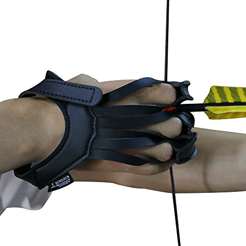 lolly-U Archery Three-finger Glove Archery Glove 3 Finger Guard Cow Leather Shooting Protective Gear For Left And Right Hand Archer Black M//L//XL
