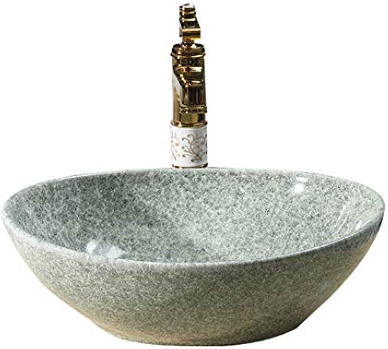 GongDi Waschpltze Aufsatzbecken Retro grau oval Keramik WC Hotel Badaccessoires Wasserhahn über Kunstbecken Waschbecken 40  33