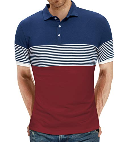 YTD Men#039s Short Sleeve Polo Shirts Casual Slim Fit Contrast Color Stitching Stripe Cotton Shirts Medium Wine Red