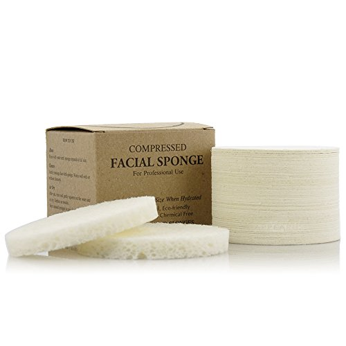 Facial Sponges - APPEARUS Compressed Natural Cellulose Face Sponge - Made in USA - Spa Sponges for Face Cleansing, Massage, Pore Exfoliating, Mask, Makeup Removal (50 Count/White)