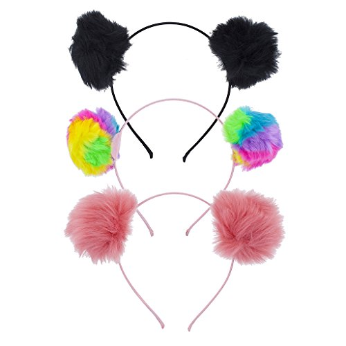 Lux Accessories Multicolor Tie Dye Fuzzy Pom Pom Ball Cat Ear Headband Set (3pc)