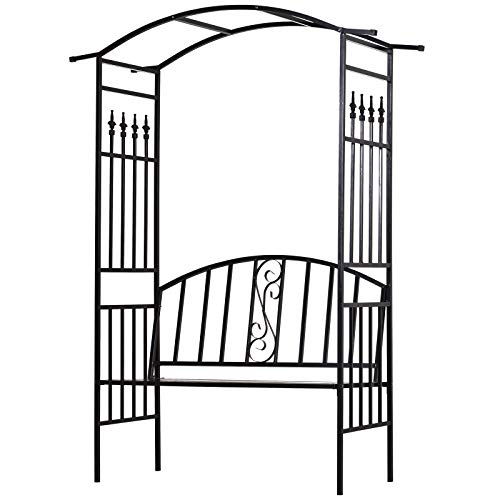 Outsunny Garden Metal Arch Arbour with Bench Love Seat Outdoor Patio Rose Trellis Pergola Climbing Plant Archway Tubular- 152L x 58W x 208Hcm