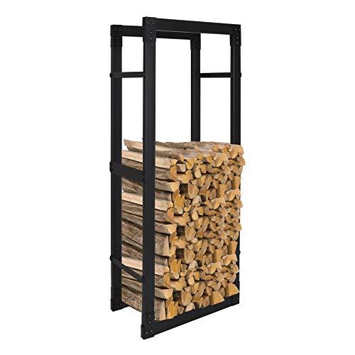 Ureprism Kaminholzregal Brennholzregal aus Schwarzem Stahl, Holzbutler in bis zu 8 Größen wählbar, Wasserdicht und feuerfest Kaminholzständer, Größe:25x60x150 cm (DxWxH)