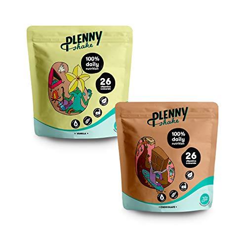 Jimmy Joy Vainilla & Chocolate Plenny Shake, 6 Bolsas x 4.000 kcal Sustituto de Comida, Nutrición Completa, 26 Vitaminas y Minerales, 20gr Proteína, Vegano, Sin Lactosa, Sin OGM
