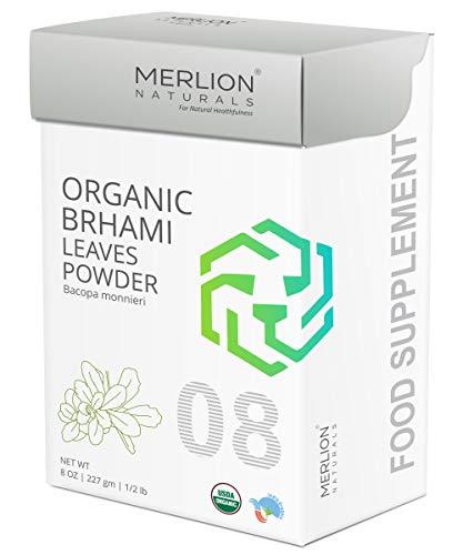MERLION NATURALS Organic Brahmi Leaves Powder | Bacopa monnieri (8 OZ)