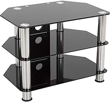 AVF SDC800CM-A: Classic - Corner Glass TV Stand with Cable Mangement