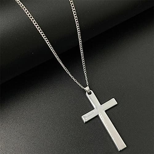 Stainless Steel Men's Women's Long Chain Cross Pendant Necklace Fashion Jewelry - Silver