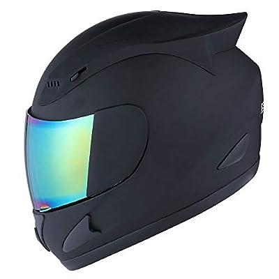 1STORM Motorcycle Bike Full FACE Helmet Mechanic MATT Black - Size Large Tinted Visor