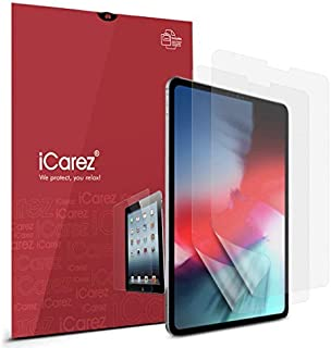 iCarez (Updated Version [Anti-Glare] Matte Screen Protector for Apple 11-inch iPad Pro 11 2018 [2-Pack] Premium PET Film (Not Glass) Easy to Install (Compatible with Face ID and Apple Pencil)