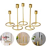 Baffect Set of 5 Gold Candle Holder for Taper Table, Decorative Candlestick Holders for We...