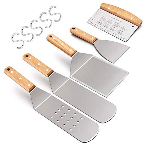 Leonyo Griddle Accessories, Stainless Steel Griddle Grill Spatula 5 PCS - Food Grade Teppanyaki Pancake Hamburger Turner Flipper for Flat Top Cast Iron BBQ Hibachi Cooking