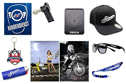SIMSON FAN SET 10-delig - met bacecap - zonnebril - metalen bord KUNDENDIENST - kentekenplaathouder - 2x A1 poster - sleutelhanger - aansteker - contactsleutel