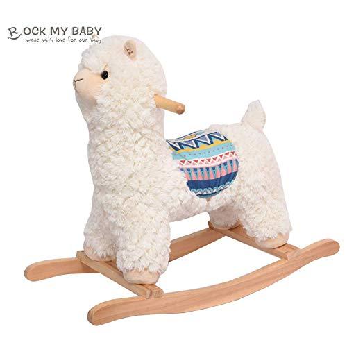 ROCK MY BABY Schaukeltier Lama, Schaukelpferd Holz, Spielzeug Creme Alkapa für Baby 18 Monate und bis, Schaukel Baby, Schaukelpferd für Babys und Kleinkinder