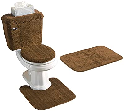 Madison Industries Chocolate Brown 5 Piece Bath Rug and Tank Set