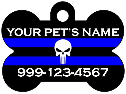 The Punisher Thin Blue Line Custom Pet Id Dog Tag Personalized w/Your Pet's Name & Number