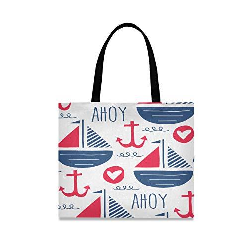 Große quadratische Kapazität Einkaufstaschen Tote Ahoi Liebes-Anker mit Segelschiffen machen Umhängetasche 19,7 x 16,9 Zoll-Druck für die Mädchen-Damen weiter, die tägliche Arbeit kaufen