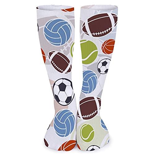 Calcetines de fútbol de baloncesto y béisbol para mujer, cómodos, hasta la rodilla, de 15.7 pulgadas, para hombre, calcetines de compresión informales para viajes, fitness, diario, fútbol, fiesta