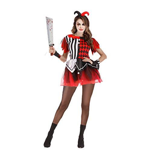 EraSpooky Disfraz de Payaso para Mujer Disfraces Cosplay Fiesta de Halloween Traje Divertido para Damas Adultas