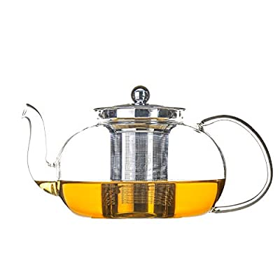 Antner 1200ml/40oz Glass Teapot with Removable Infuser, Stovetop Safe Tea Kettle Microwave & Dishwasher Safe Loose Leaf Tea Maker