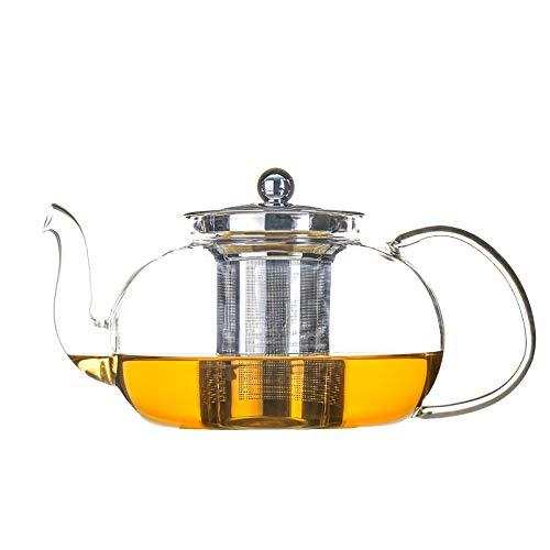 Antner 1200ml/40oz Glass Teapot with Removable Stainless Steel Infuser Stovetop Safe Tea Kettle Microwave amp Dishwasher Safe Tea Pot Loose Leaf Tea Maker