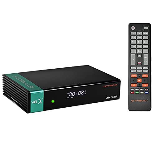 GTMEDIA V8X Receptor de Satélite,DVB-S S2 S2X FTA Decodificador Satelite Digital Full HD con Wi-Fi Incorporado / Ethernet / SCART ,Soporte CCCAM, Youtube, IPTV,Ranura para Tarjeta CA ,PowerVu,Biss Key