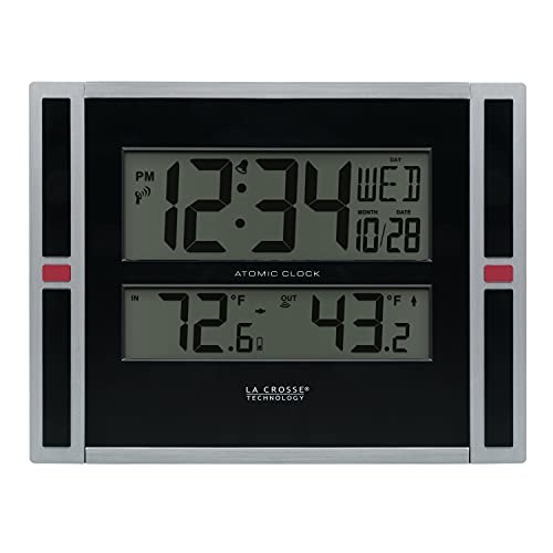 La Crosse Technology 513-149 11-Inch Atomic Digital Wall Clock with Temperature, Black, One Size