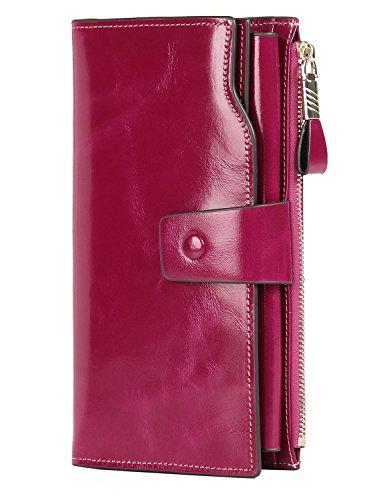 PARVENZA Donna Portafoglio Bloccaggio RFID Grande Capacità Lusso Cera Cuoio Genuino Borsa Portafogli Rosa PVZ0702R