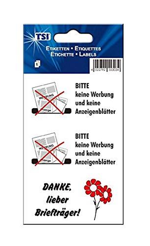 TSI Hinweis-Etikett Bitte Keine Werbung (Bitte Keine Werbung + Anzeigenblätter, 1 Packung)