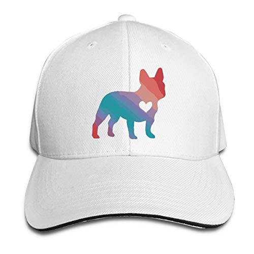 Colorful French Bulldog Sandwich Hat Unisex Adult Baseball Trucker Cap White