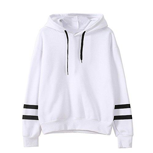 Femme Sweat À Capuche Imprimé Lunettes Pull Sport Manches Longues Sweatshirts Sport Pull Mode Manteau Femme Pullover Sweat-Shirt avec Poche (S, Blanc2)