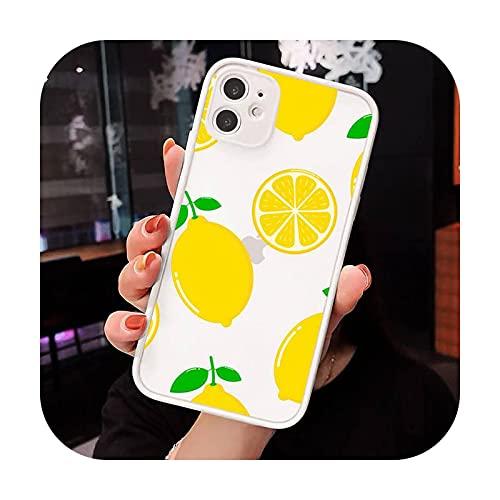 Moda lindo dibujos animados fruta limón teléfono casos mate transparente para iPhone 12 Mini 11 Pro XR XS Max 7 8 Plus X contraporta-a5-iPhone XR