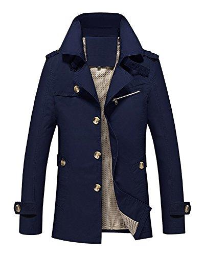 LaoZan Slim Fit Trench Coat Manica Lunga Cappotto Classico Giacca per Uomo