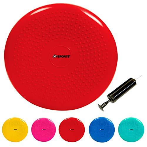 ScSPORTS Ballsitzkissen mit Pumpe, Rückentraining & Koordinationstraining, Balancekissen für Pilates, Ø 34 cm (rot)