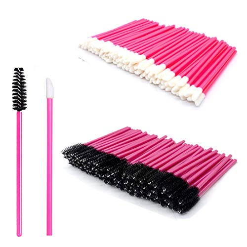 200 Stück Make-up Tool-Kits Einweg Lippenpinsel Stick Rosenrot Einweg WimpernbürsteTägliche Make-Up Pinsel Sets (Rose Red)
