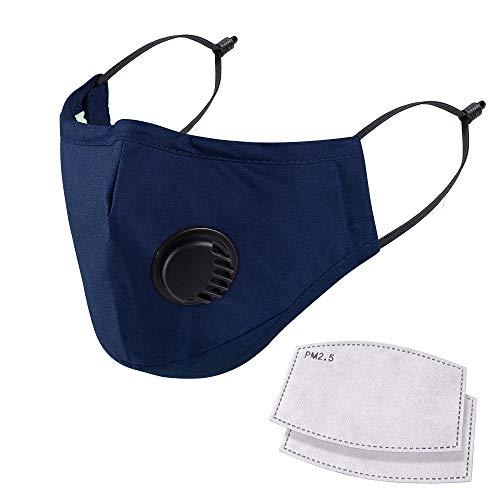 Atmungsaktive Gesichtsmaske aus 100% Baumwolle mit Luftventil und verstellbaren Ohrschlaufen und Nasenklammer, 2 gratis Filter in 5 Lagen