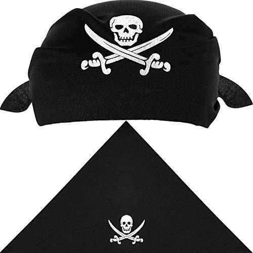 Blulu 12 Stücke Pirat Bandana Schwarz Pirat Kapitän Kopftuch für Pirat Thema Party, Halloween und Kinder Party Gefallen (Stil A)