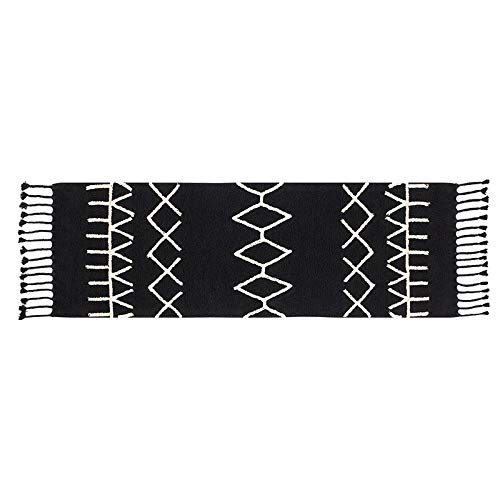 Lorena Canals pequeño Bereber Alfombra Lavable, algodón, Negro, 80x 230x 30cm