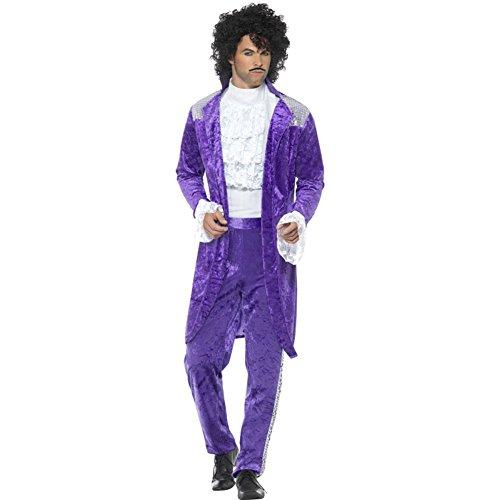 Smiffys 48004L 80er-Jahre Violett Musiker-Kostüm, Violett, mit Jackett, vorgetäuschtem Hemd und Hose, L