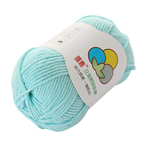 Janly Clearance Sale Tejido a mano, 5 hebras de algodón con leche, cálido y suave, tejido a mano, tejido de lana, poliéster, textiles de ganchillo para matar tiempo y pasatiempos (azul claro)
