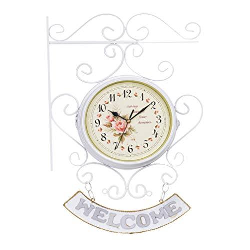 Cabilock Doppelseitige Wanduhr Bahnhofsuhr Retro Stil Uhren Garten Outdoor Bahnhof mit Welcome Schild Landhausstil Halloween Weihnachten Dekoration OHNE Batterie