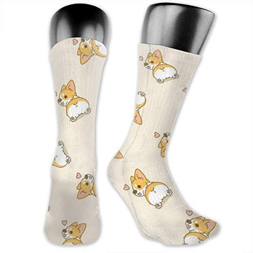 Yuanmeiju Calcetines Corgi Butt Heart Corgi Women Men Athletic Mid-Calf Socks Below Knee Stockings Sports Travel High Ankle Compression Socks One Size