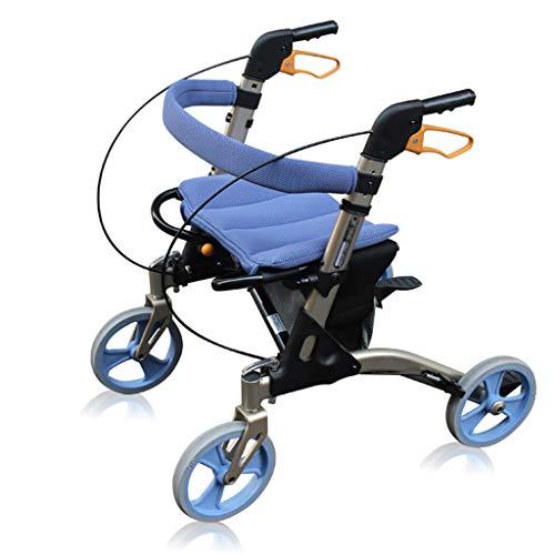 HSRG Inklapbare rollator met brede zitting en remmen, in hoogte verstelbare walker en transportstoel voor senioren met een handicap