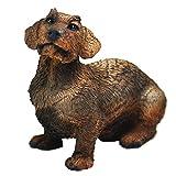 Figura Perro Salchicha Teckel Pelo Duro,Estatua de Perro, Escultura de Resina, Altura: 10cm.