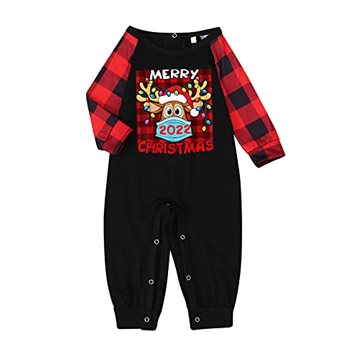 LEIYAN Christmas Matching Family Pajama Collection Cute Reindeer Pullovers Striped Pant Funny Holiday Sleepwear Sets Red