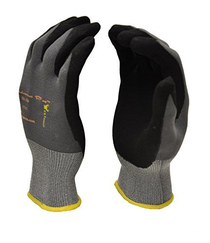 G & F 1529M-DZ Knit Work Gloves, Textured Rubber Latex Coated for Construction,