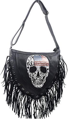 Damen Handtasche Totenkopf Skull Bone Trapez Gothic Punk Damentasche Schultertasche Glitzer groß Strass Optik (Stars Stripes american)